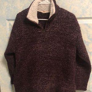 Purple fuzzy pullover